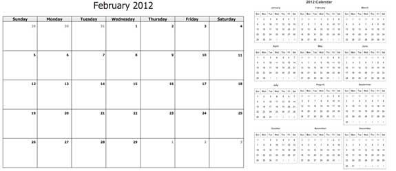 2012 calendar template preview