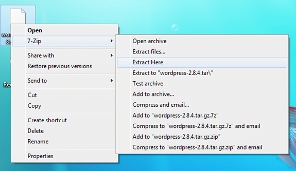 Screenshot of the 7-zip context menu in Windows 7