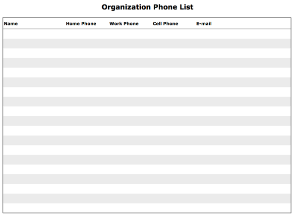 Screenshot of the printable organization phone list