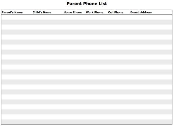 Screenshot of the printable school telephone list