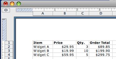 sample spreadsheet screenshot