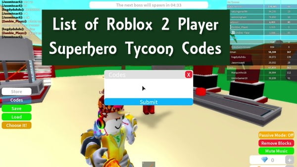 All Roblox 2 Player Superhero Tycoon Codes (2020) New List