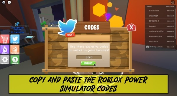 Copy and Paste Roblox Power Simulator Codes