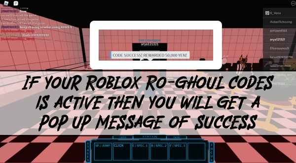 a pop up message of successfully redeeming Roblox ro-ghoul codes
