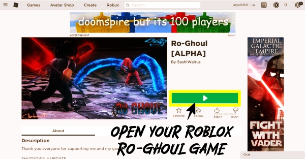 open-your-Roblox-Ro-ghoul-game